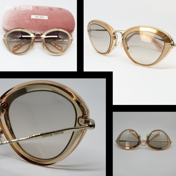 d508f2b9581 Miu Miu Sunglasses Cat Eye Gold Clear Blush